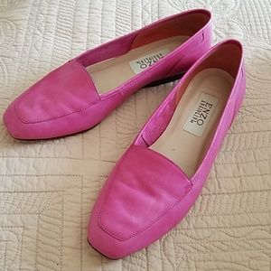 Pink leather flats shoes